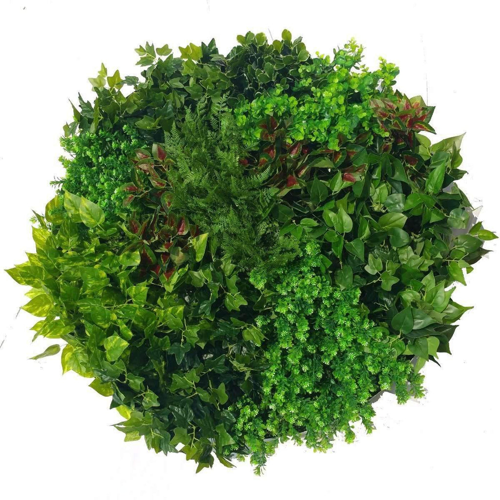 Artificial Green Wall Disk Art 100cm - Mixed Ivy And Fern Kings Warehouse
