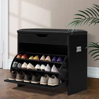 Artiss 3 Tier Shoe Cabinet Storage Stool Black Living Room Kings Warehouse
