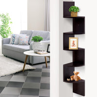 Artiss 5 Tier Corner Wall Floating Shelf Mount Display Bookshelf Rack Brown Living Room Kings Warehouse