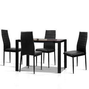Artiss Astra 5-Piece Dining Table and Chairs Sets - Black Kings Warehouse