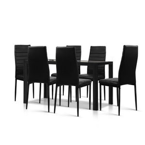 Artiss Astra 7-Piece Set Tempered Glass Dining Set Table and 6 Chairs Black Kings Warehouse