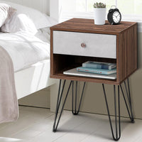Artiss Bedside Table with Drawer - Grey & Walnut Kings Warehouse