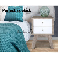 Artiss Bedside Tables Drawers Side Table Nightstand Storage Cabinet Wood Bedroom Kings Warehouse