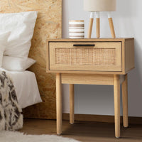 Artiss Bedside Tables Table 1 Drawer Storage Cabinet Rattan Wood Nightstand Bedroom Kings Warehouse