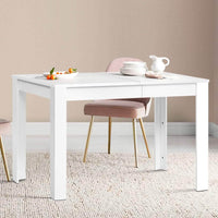 Artiss Dining Table 4 Seater Wooden Kitchen Tables White 120cm Cafe Restaurant Kings Warehouse