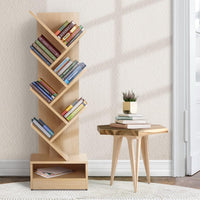 Artiss Display Shelf 7-Shelf Tree Bookshelf Book Storage Rack Bookcase Natural Kings Warehouse