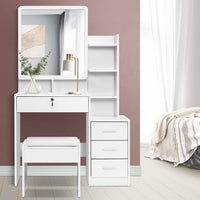 Artiss Dressing Table Mirror Stool Jewellery Cabinet Makeup Organizer Drawer Bedroom Kings Warehouse