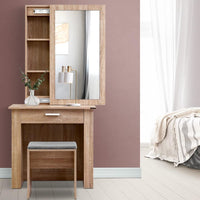 Artiss Dressing Table Mirror Stool Mirror Jewellery Cabinet Makeup Storage Wood Bedroom Kings Warehouse