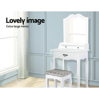 Artiss Dressing Table Stool Mirror Drawer Makeup Jewellery Cabinet White Desk Bedroom Kings Warehouse