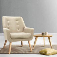 Artiss Fabric Dining Armchair - Beige Kings Warehouse