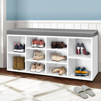 Artiss Fabric Shoe Bench with Storage Cubes - White Living Room Kings Warehouse