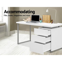 Artiss Metal Desk with 3 Drawers - White Kings Warehouse