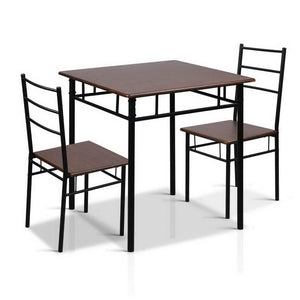 Artiss Metal Table and Chairs - Walnut & Black Kings Warehouse