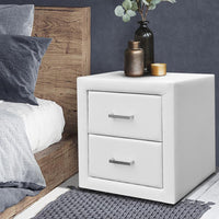 Artiss PVC Leather Bedside Table - White Kings Warehouse