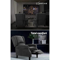Artiss Recliner Chair Adjustable Sofa Lounge Soft Suede Armchair Couch Charcoal Bar Stools & Chairs Kings Warehouse