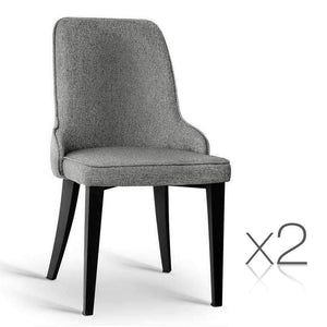 Artiss Set of 2 Fabric Dining Chairs - Grey Kings Warehouse