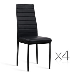 Artiss Set of 4 Dining Chairs PVC Leather - Black Furniture Kings Warehouse