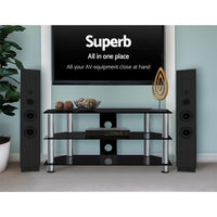 Artiss TV Stand Entertainment Unit Media Cabinet Temptered Glass 3 Tiers Furniture Kings Warehouse