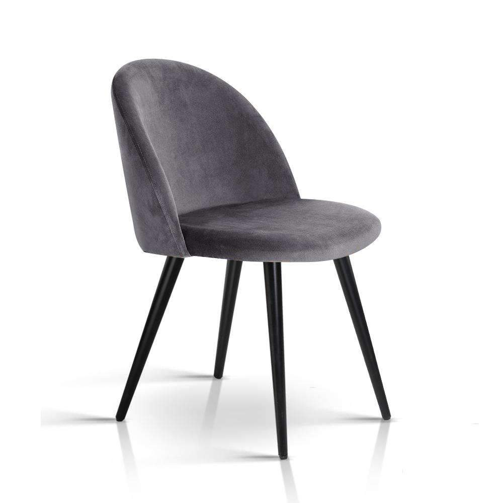Artiss Velvet Modern Dining Chair - Dark Grey Kings Warehouse