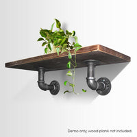 Artiss Wall Shelves Industrial Display Bookshelf DIY Pipe Shelf Rustic Brackets DIY Kings Warehouse