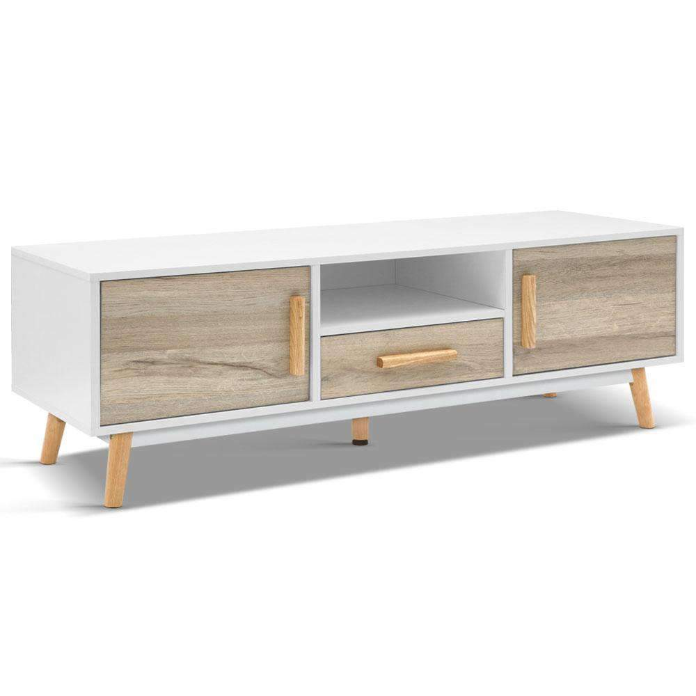 Artiss Wooden Entertainment Unit - White & Wood Kings Warehouse