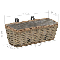 Balcony Planter 2 pcs Wicker with PE Lining 40 cm Kings Warehouse