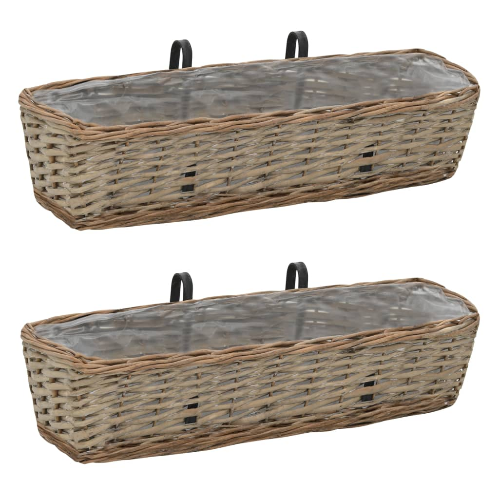 Balcony Planter 2 pcs Wicker with PE Lining 60 cm Kings Warehouse