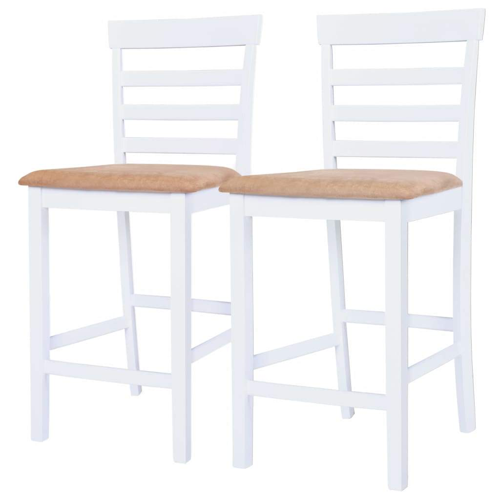 Bar Chairs 2 pcs White Fabric Kings Warehouse