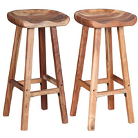 Bar Stools 2 pcs Solid Acacia Wood Kings Warehouse