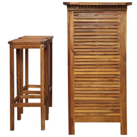 Bar Table and Chair Set 3 Pieces Solid Acacia Wood Kings Warehouse