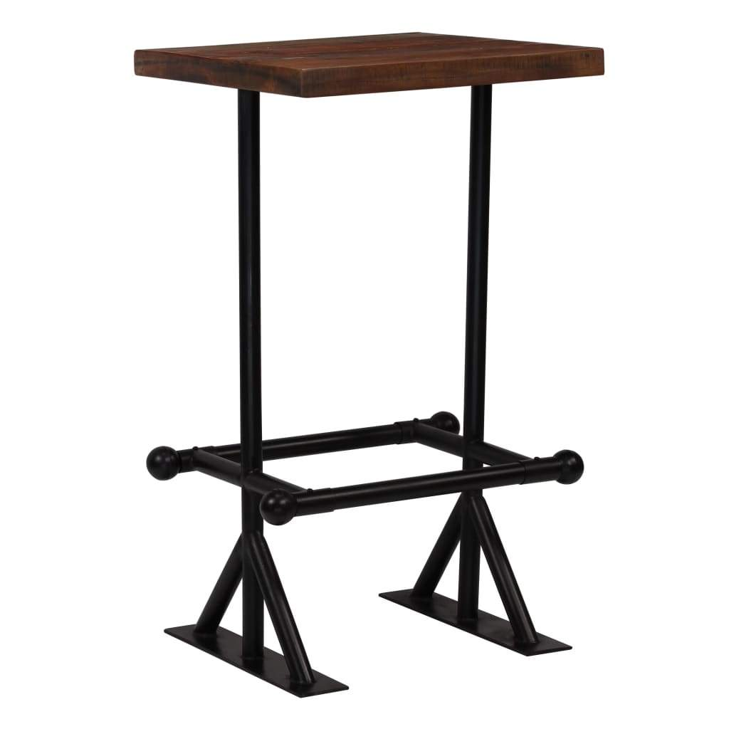 Bar Table Solid Reclaimed Wood Dark Brown 60x60x107 cm Kings Warehouse