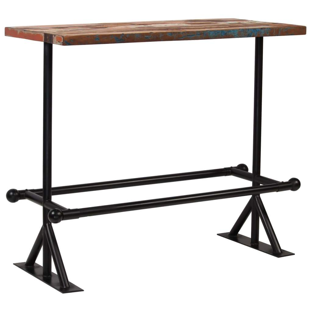 Bar Table Solid Reclaimed Wood Multicolour 120x60x107 cm Kings Warehouse