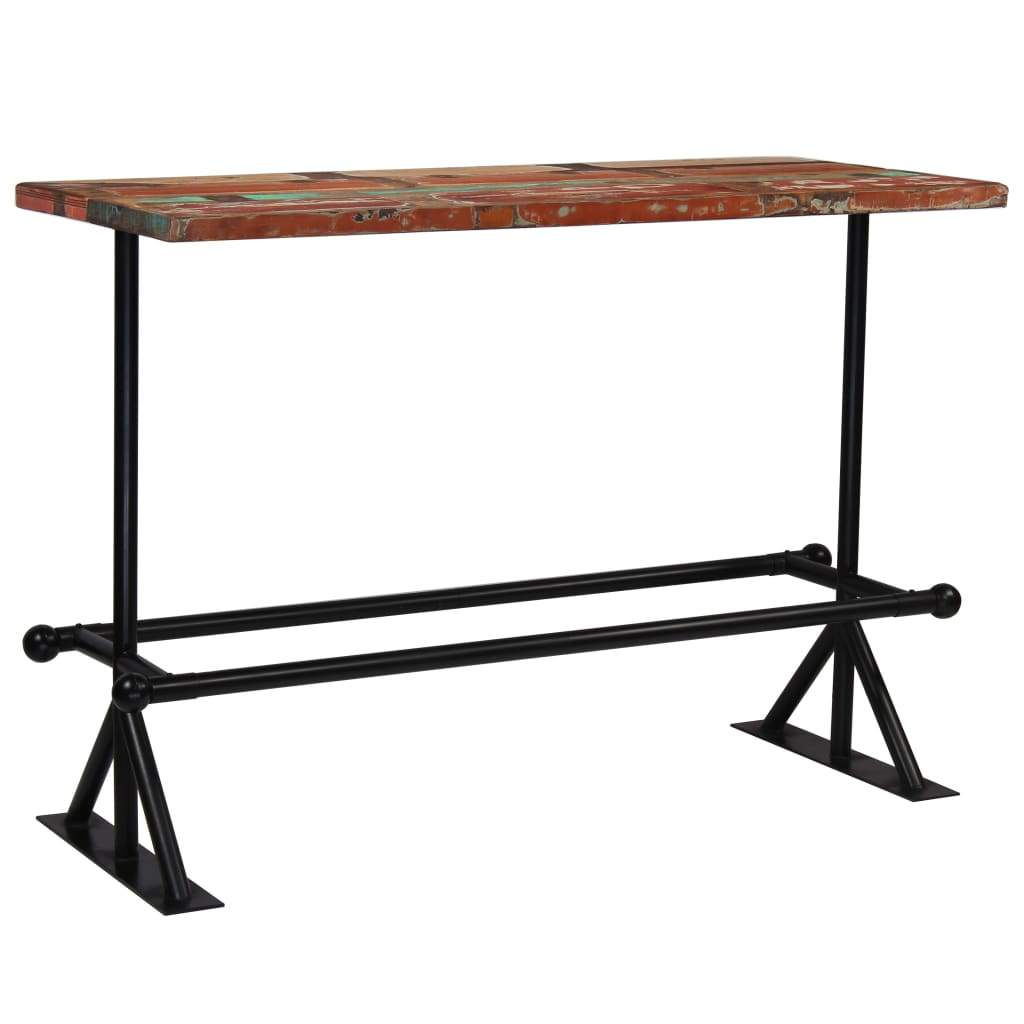 Bar Table Solid Reclaimed Wood Multicolour 150x70x107 cm Kings Warehouse