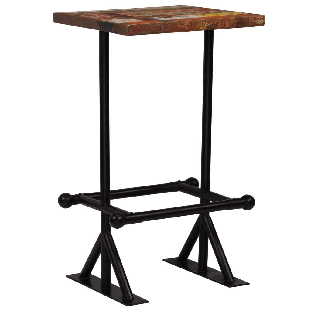Bar Table Solid Reclaimed Wood Multicolour 60x60x107 cm Kings Warehouse