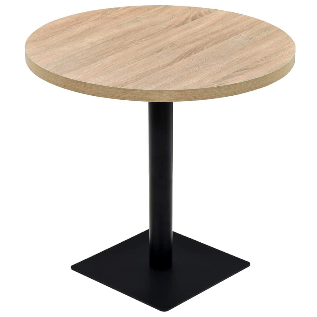Bistro Table MDF and Steel Round 80x75 cm Oak Colour Kings Warehouse