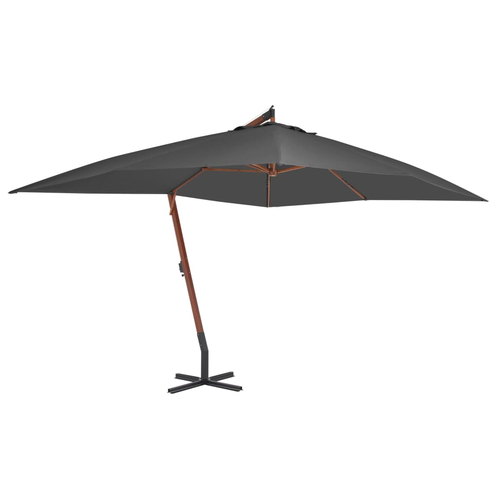 Cantilever Umbrella with Wooden Pole 400x300 cm Anthracite Kings Warehouse
