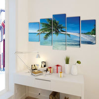 Canvas Wall Print Set Sand Beach with Palm Tree 100 x 50 cm 241560 Kings Warehouse