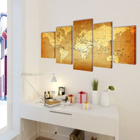 Canvas Wall Print Set World Map 200 x 100 cm 241597 Kings Warehouse
