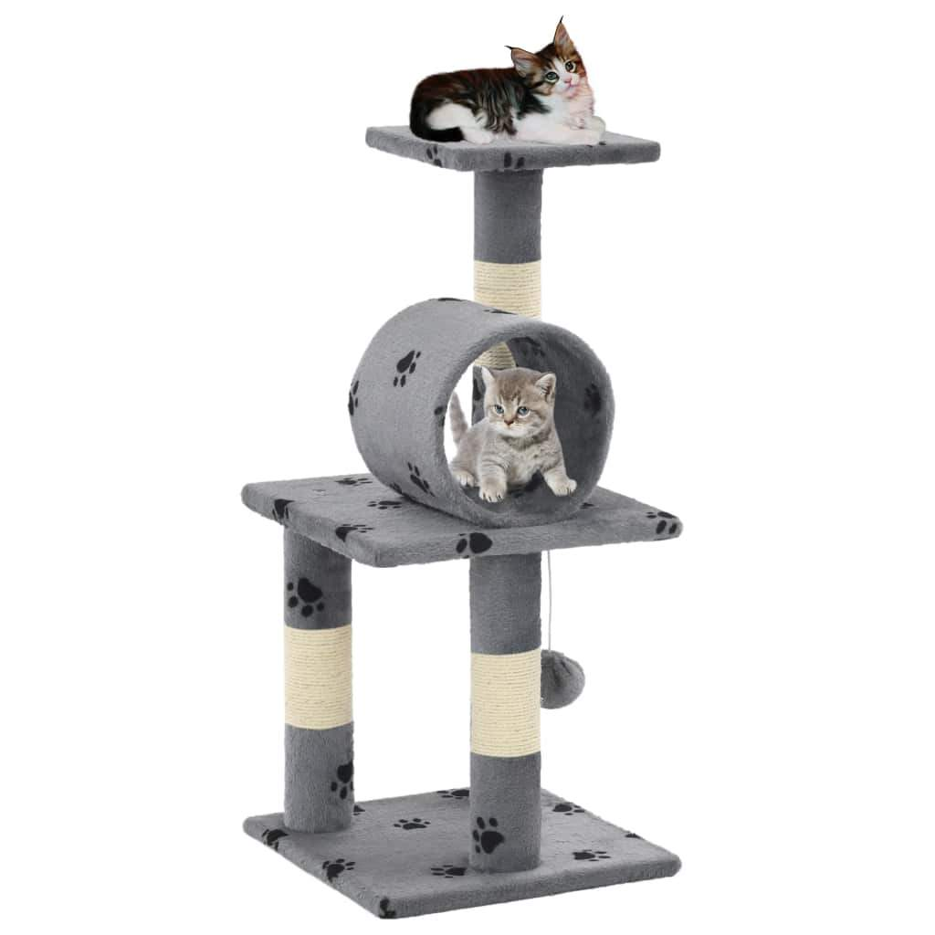 Cat Tree with Sisal Scratching Poasts 65 cm Grey Paw Prints Kings Warehouse