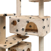 Cat Tree with Sisal Scratching Posts 125 cm Paw Prints Beige Kings Warehouse