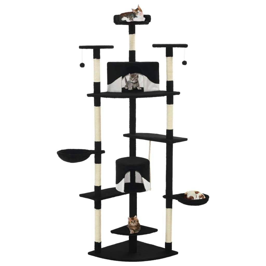 Cat Tree with Sisal Scratching Posts 203 cm Black and White Kings Warehouse