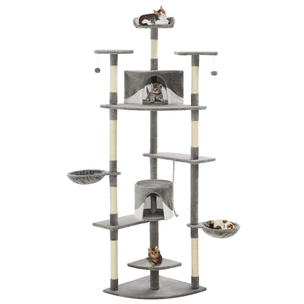 Cat Tree with Sisal Scratching Posts 203 cm Grey and White Kings Warehouse