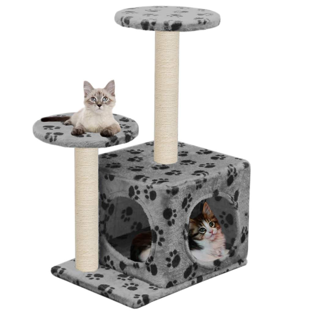 Cat Tree with Sisal Scratching Posts 60 cm Grey Paw Prints Kings Warehouse