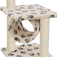 Cat Tree with Sisal Scratching Posts 65 cm Beige Paw Print Kings Warehouse