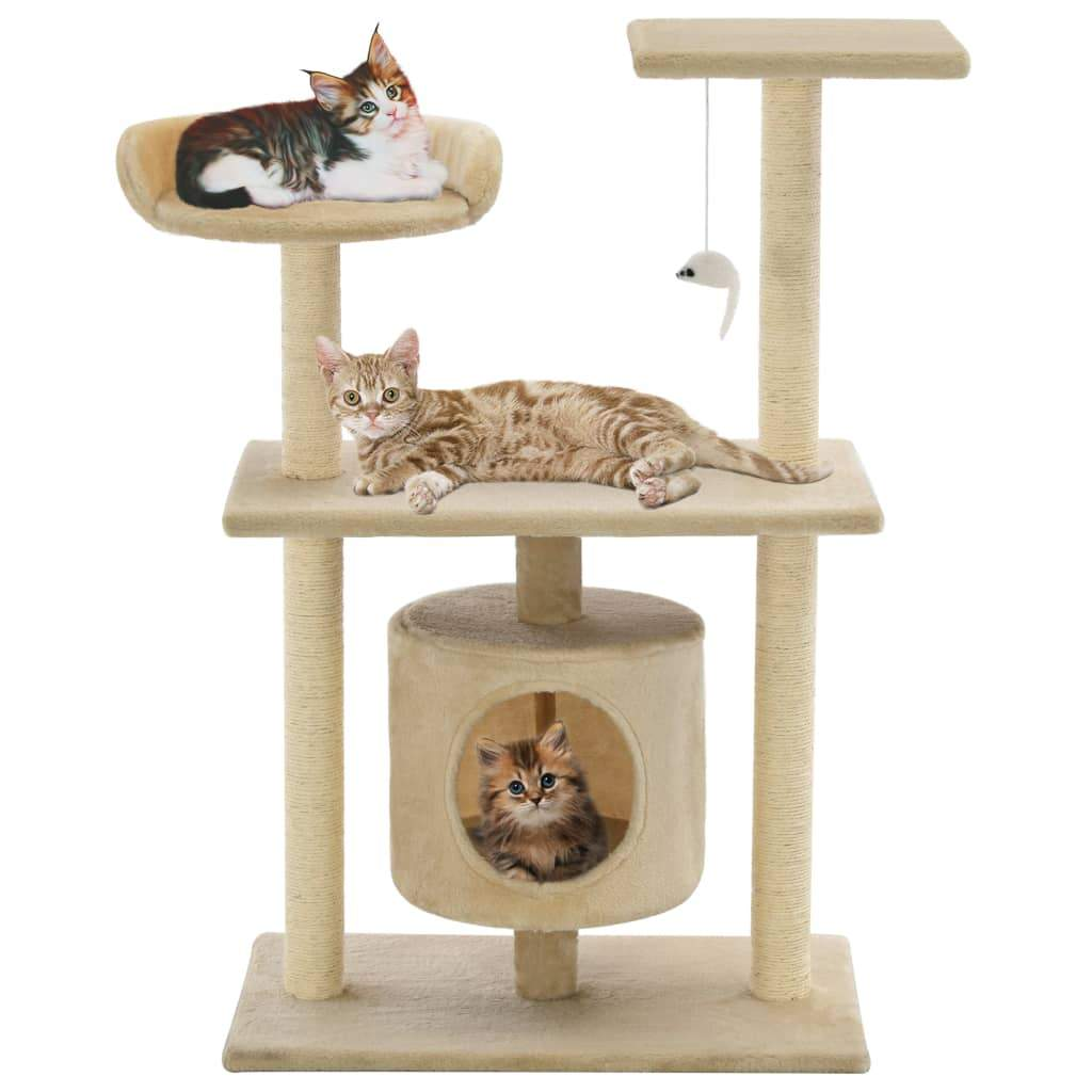 Cat Tree with Sisal Scratching Posts 95 cm Beige Kings Warehouse