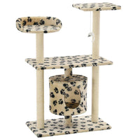 Cat Tree with Sisal Scratching Posts 95 cm Beige Paw Prints Kings Warehouse