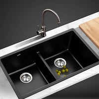 Cefito Stone Kitchen Sink 790X460MM Granite Under/Topmount Basin Double Bowl Black DIY Kings Warehouse