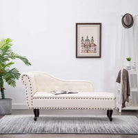 Chaise Longue Cream White Faux Leather