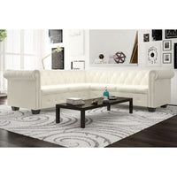 Chesterfield Corner Sofa 5-Seater Artificial Leather White Kings Warehouse
