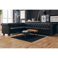Chesterfield Corner Sofa 6-Seater Artificial Leather Black
